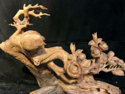 紅豆杉根雕「喜上眉梢」