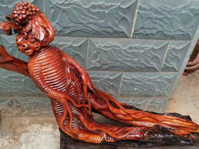 老撾紅花梨木雕「人生如意」