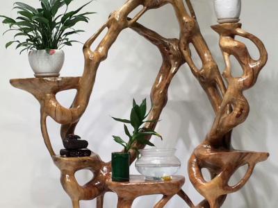 花架香樟木老料整體雕刻