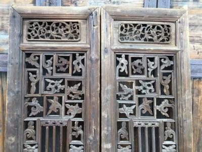 風化木老門窗精品花窗一對